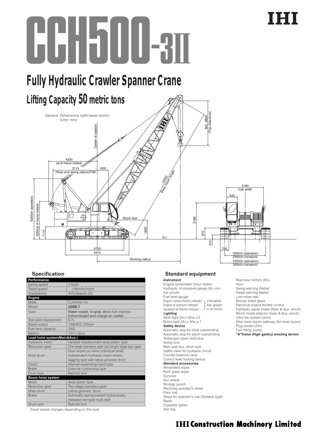 Crawler Crane Cch500 3ii Ihi Construction Machinery Limited Pdf Simple Hydraulic System Diagram Photo Album Diagrams 1 12 Pages