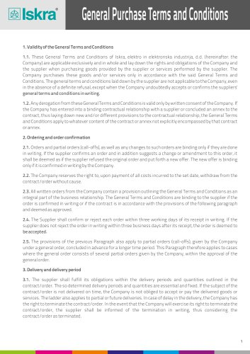 General Purchase Terms and Conditions