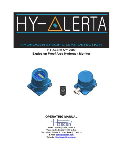 HY-ALERTA 2600 Explosion Proof Area Hydrogen Monitor