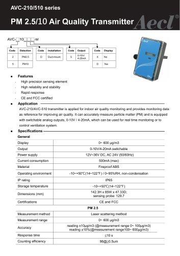 Aecl PM10 Transmitter Duct mount (PM10 sensor)