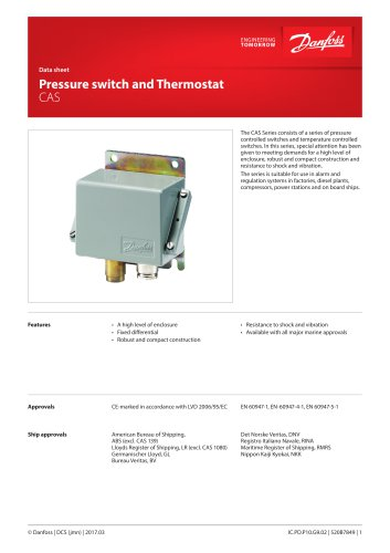 Pressure switch and Thermostat CAS