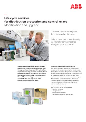 Life cycle services for distribution protection and control relays Modification and upgrade