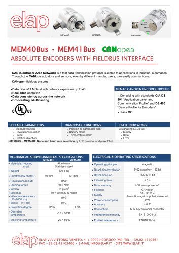 MEM40-Bus CANopen Absolute multiturn encoder