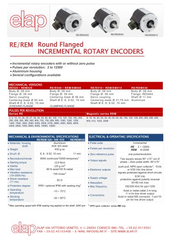 RE520 - REM520 Round flanged incremental encoders