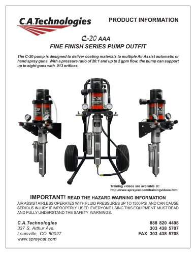 C-20 AAA FINE FINISH SERIES PUMP OUTFIT