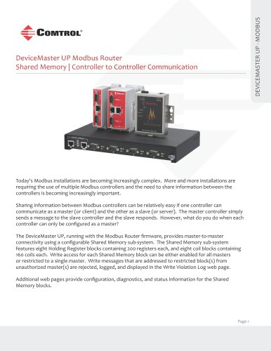 Device Master UP-Modbus Router Shared Memory - Comtrol