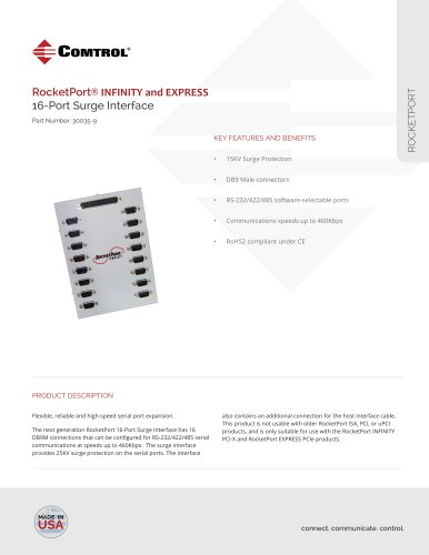 RocketPort ® 16-Port DB9M Surge Interface
