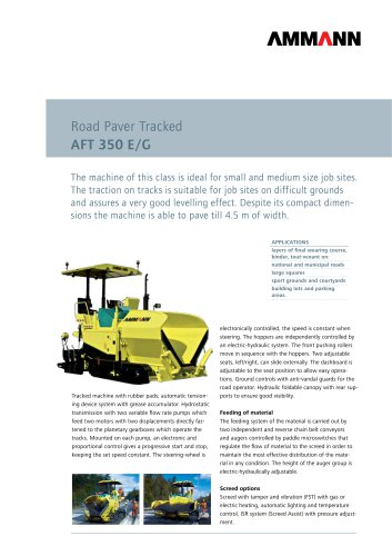 Road Paver AFT 350 E/G: Road Paver Tracked