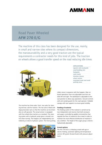 Road Paver AFW 270 E/G: Road Paver Wheeled