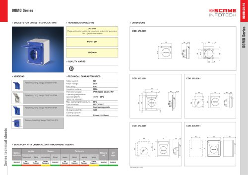 DOMO Series Sockets for domestic applications
