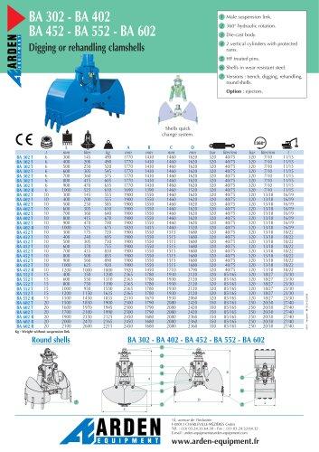 BA 302 - BA 402 BA 452 - BA 552 - BA 602 Digging or rehandling clamshells