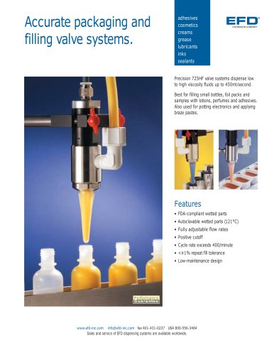 Accurate packaging and filling valve systems