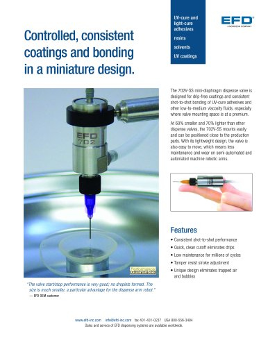 Controlled, consistent coatings and bonding in a miniature design