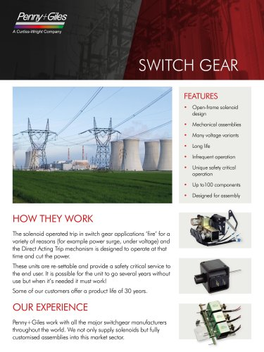Solenoids for the Switch Gear industry