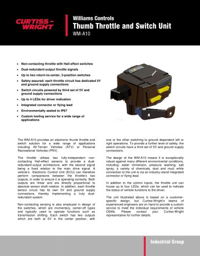 WM-A10 Thumb Throttle and Switch Unit