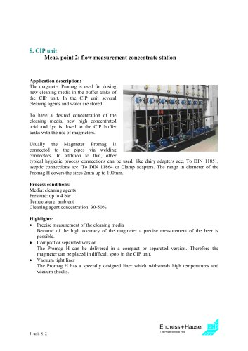 Juice application: CIP unit, Application 2