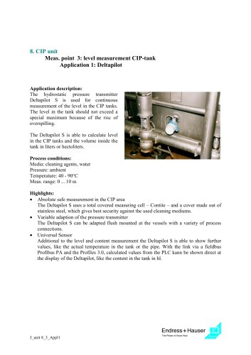 Juice application: CIP unit, Application 3