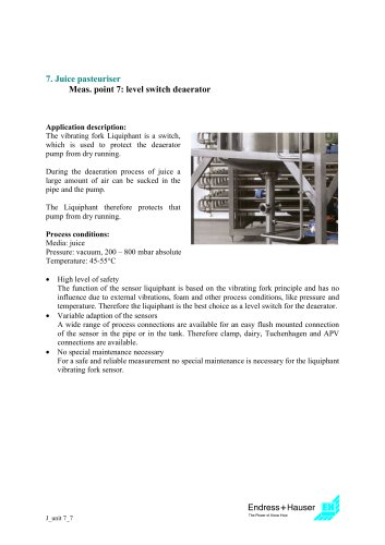 Juice application: Juice pasteuriser, Application 8