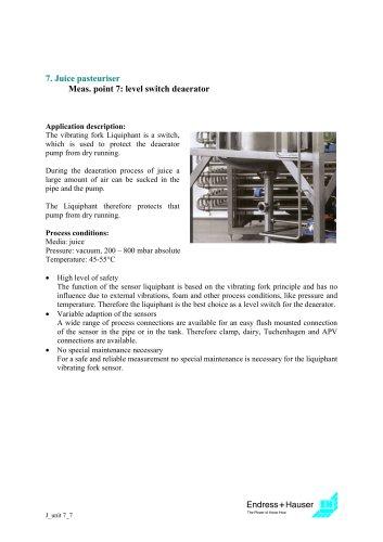 Juice application: Juice pasteuriser, Application 8