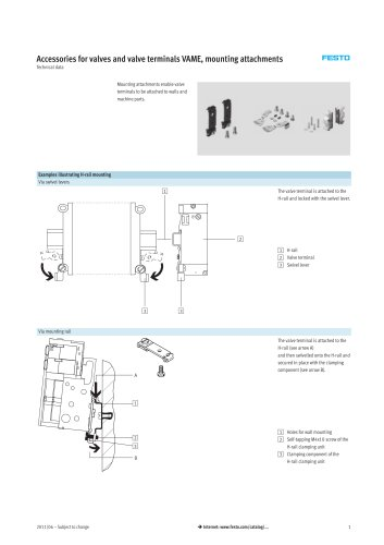 Mounting attachments VAME for valve terminals