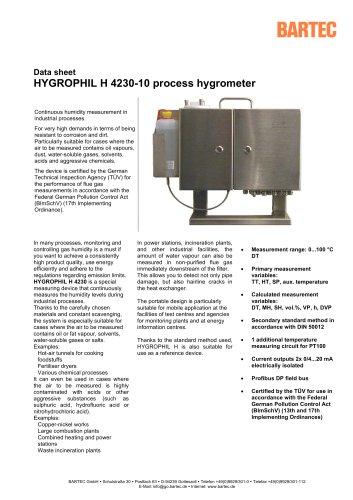 HYGROPHIL H - Process hygrometer - 4230-10