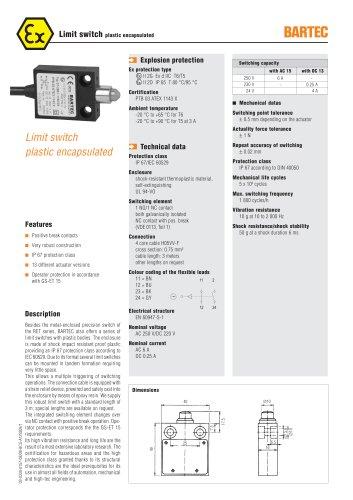 Limit switch plastic encapsulated