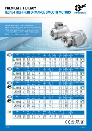DS1009 IE3/IE4 HIGH PERFORMANCE SMOOTH MOTORS