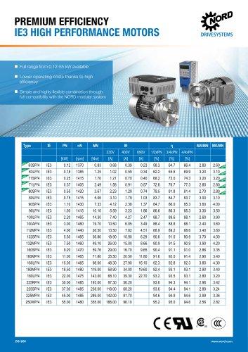 PREMIUM EFFICIENCY IE3 HIGH PERFORMANCE MOTORS -Datasheet (DS1006)