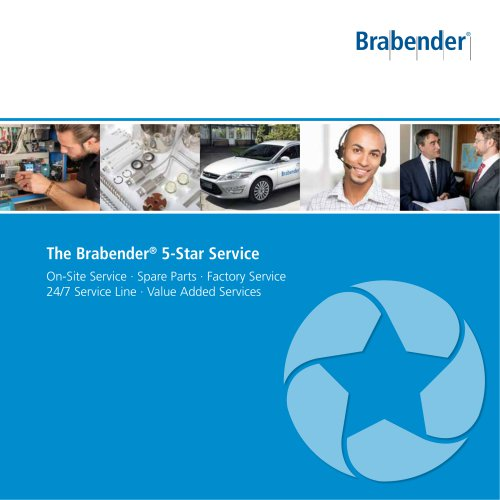 The Brabender 5-Star Service: On-Site Service · Spare Parts · 24/7 Service Line Factory Service · Value Added Services