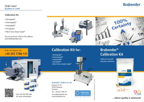 Brabender Calibration Kit: Check your instrument yourself using Brabender reference material
