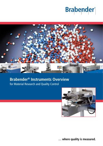 Brabender Instruments for Material Research and Quality Control