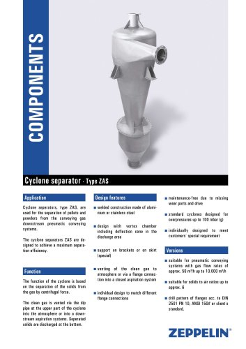 cyclone for pneumatic conveying