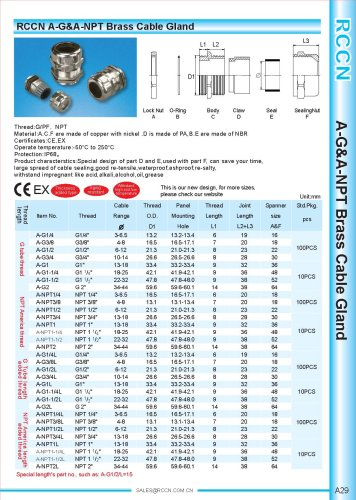 A-G&A-NPT Brass Cable Gland