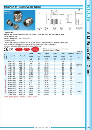 A-M Brass Cable Gland
