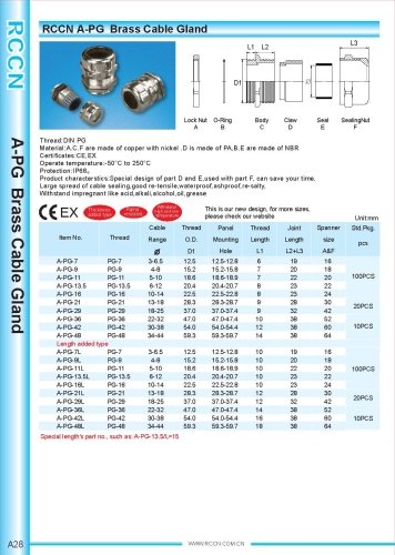 A-PG Brass Cable Gland