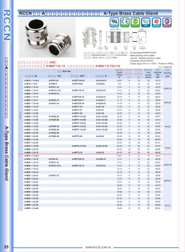A-Type Brass Cable Gland