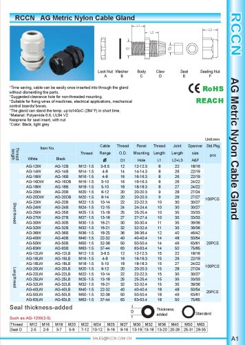 AG Metric Nylon Cable Gland