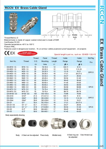 EX Brass Cable Gland