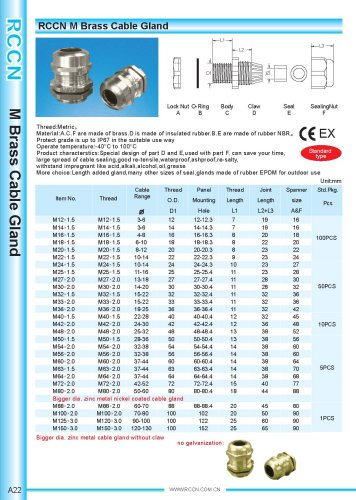 M Brass Cable Gland