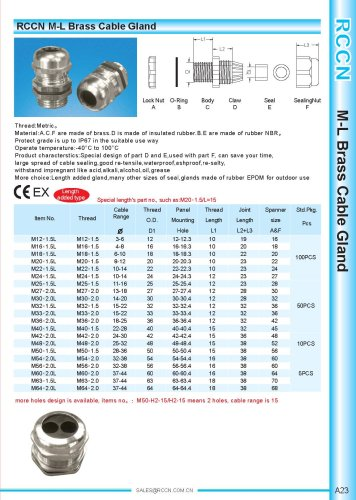 M-L Brass Cable Gland