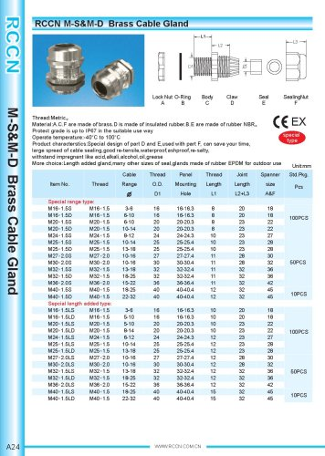 M-S&M-D Brass Cable Gland