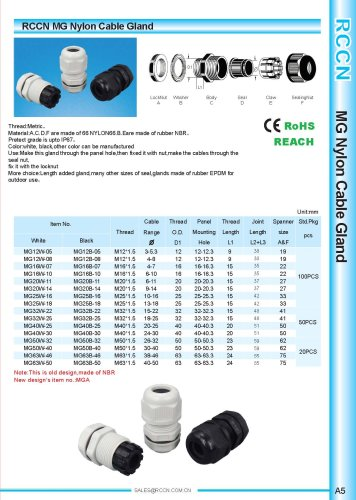 Mg Nylon Cable Gland Shanghai Richeng Electronics Pdf Catalogs