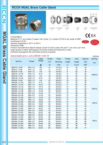 MGAL Brass Cable Gland