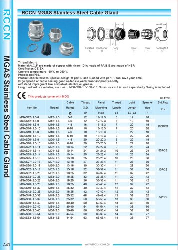 MGAS Stainless Steel Cable Gland