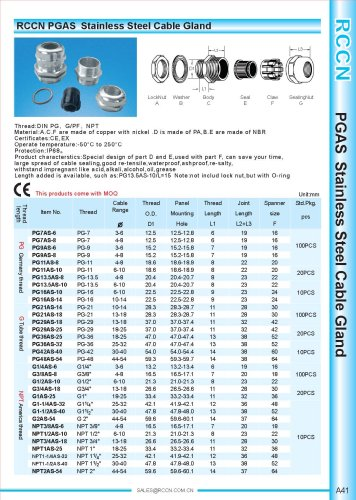 PGAS Stainless Steel Cable Gland
