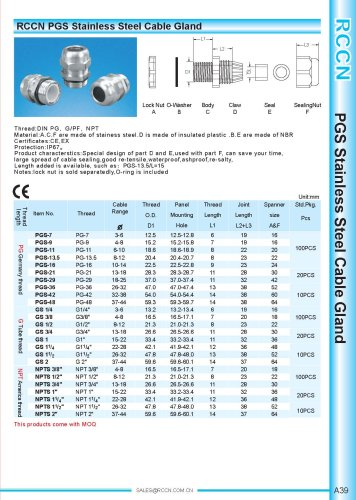 PGS Stainless Steel Cable Gland