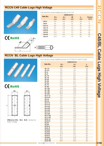 RCCN C45 Cable Lugs High Voltage