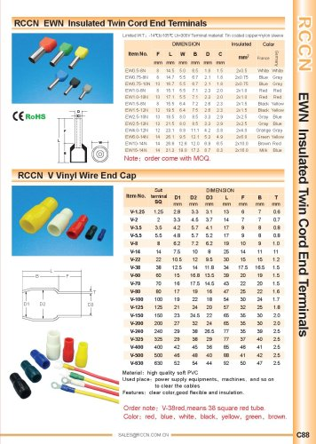 RCCN  EWN  Insulated Twin Cord End Terminals