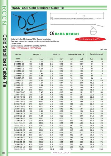 RCCN  GCS Cold Stabilized Cable Tie