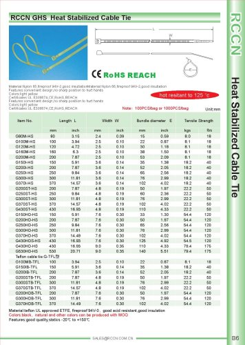 RCCN GHS  Heat Stabilized Cable Tie